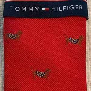 NWT Tommy Hilfiger red tie with dogs
